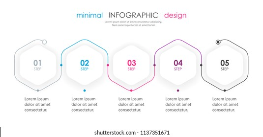 Business minimal Infographic design template with 5 options or steps.  Can be used for process diagram, presentations, workflow layout, banner, flow chart, info graph.