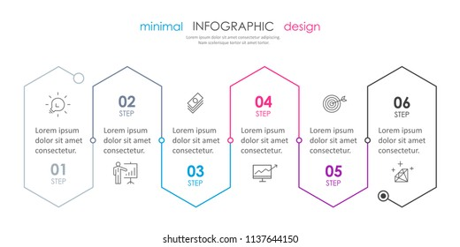 Business minimal Infographic design template with icons and 6 options or steps.  Can be used for process diagram, presentations, workflow layout, banner, flow chart, info graph.