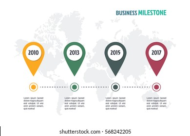 business minimal infographic template, 4 steps business milestone timeline infographic layout, vector design element