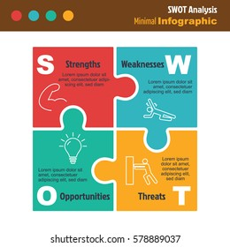 business minimal infographic template, swot analysis marketing infographic layout, vector design element with icons