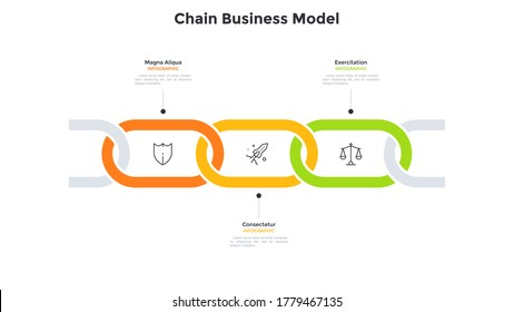 Business model with 3 connected chain links. Concept of three successive stages of startup project development process. Simple infographic design template. Modern vector illustration for presentation.