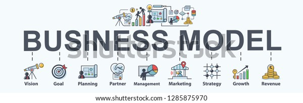 Business Model Banner Web Icon Business Stock Vector