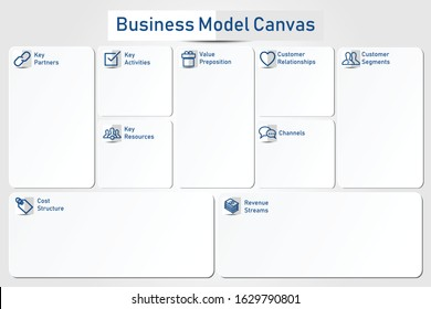 Business Model Canvas form with origami paper style.
