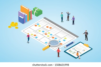 business model canvas paper document meeting discussion template with team people and modern isometric style - vector