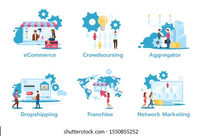 Business model flat vector illustrations set. E-commerce. Crowdsourcing. Aggregator. Dropshipping. Franchise. Network marketing. Trading strategies. Isolated cartoon characters