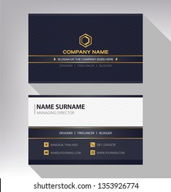 business model name card black white gold