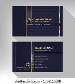 business model name card luxury Modern black white gold