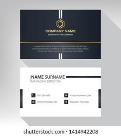 business model name card luxury Modern black white gold