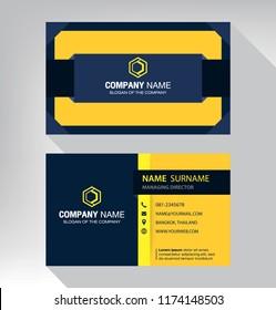 business model name card Modern blue black yellow white
