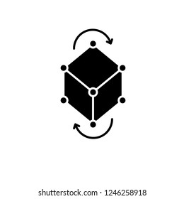 Business model pivot black icon, vector sign on isolated background. Business model pivot concept symbol, illustration