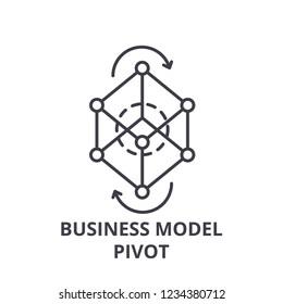 Business model pivot line icon concept. Business model pivot vector linear illustration, symbol, sign