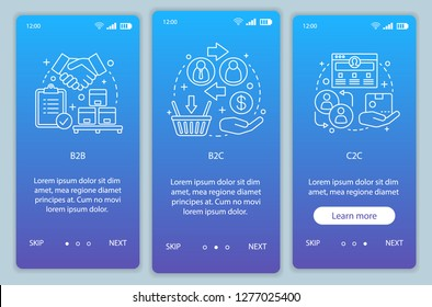 Business models onboarding mobile app page screen vector template. B2B, B2C, C2C. walkthrough website steps with linear illustrations. Marketing campaign. UX, UI, GUI smartphone interface concept