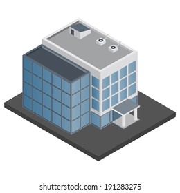 Business modern 3d urban office building isometric isolated vector illustration