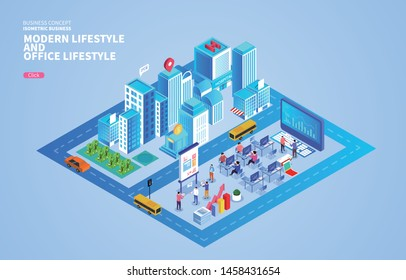 Business modern city and modern business office