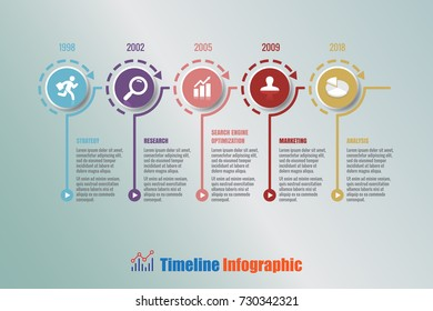 Business modern timeline infographic with 5 steps circle designed for background elements diagram planning process web pages workflow digital technology data presentation chart. Vector illustration