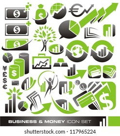 Business, money and finance icons, logos and symbols vector set - banking design elements and graphics.