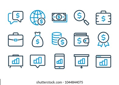 Business and money related line icon set for UI. Vector illustration.