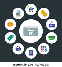 business, money, shopping Infographic Circle flat Icons Set. Contains such Icons as office,  accounting, invoice,  time,  food, mail,  book,  internet,  grocery and more. Fully Editable. Pixel Perfect