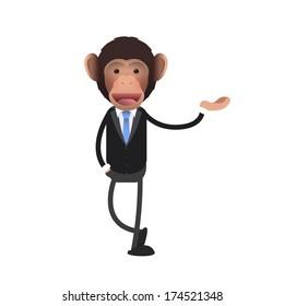 business monkey holding something over isolated background. Vector design.