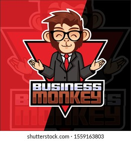 business monkey mascot esport logo design
