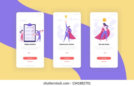 Business Motivation Concept Mobile App Page Screen Set. Superheroes People Characters, Proud Woman and Idea Man with Checklist Clipboard for Website or Web Page. Flat Cartoon Vector Illustration