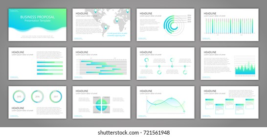 Business multipurpose presentation template. Set of flat design slides. Infographic elements for data visualization in corporate presentation, flyer, brochure, report. Infographic elements. EPS 10.