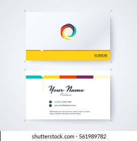 Business name card template commercial design. vector illustration