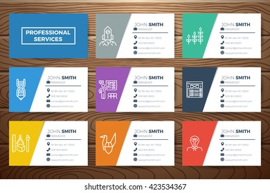 Business name card template design line stock vector royalty free business name card template design with line icons on realistic wooden background friedricerecipe Images