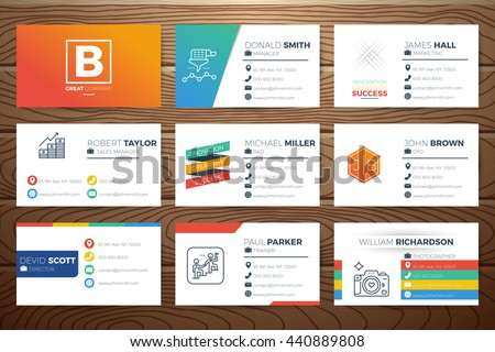 Business name card template design line stock vector royalty free business name card template design with line icons and decorations on realistic wooden background friedricerecipe Images
