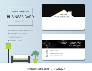Business name card template interior designer stock vector royalty business name card template for interior designer modern and elegant style with marbling texture imitation accmission