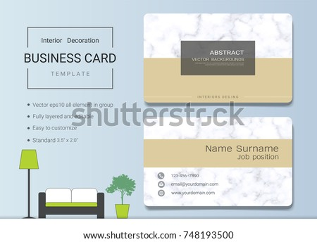 Business name card template interior designer stock vector royalty business name card template for interior designer modern and elegant style with marbling texture imitation friedricerecipe Gallery