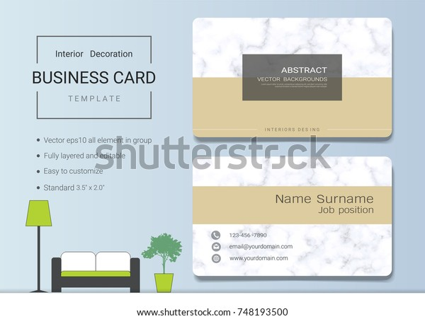 Business Name Card Template Interior Designer Stock Vector Royalty Free 748193500