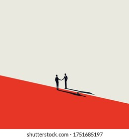 Business negotiation, deal making or acquisition, merger vector concept. Two men shaking hands. Minimal design. Eps10 illustration.