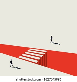 Business negotiation vector concept with businessman approaching each other. Symbol of discussion, meeting, crossing gaps, building bridges. Eps10 illustration.