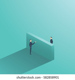 Business negotiation vector concept illustration with two businessman having conversation over the wall. Symbol of making deal, agreement. Eps10 vector illustration.