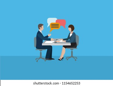 Business negotiations between a man and a woman