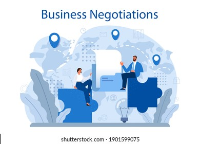Business negotiations concept. Business planning and development. Future business partnership, brainstorming or team work process. Isolated flat vector illustration