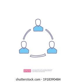 business network doodle icon concept. community or marketing connection sign symbol vector illustration