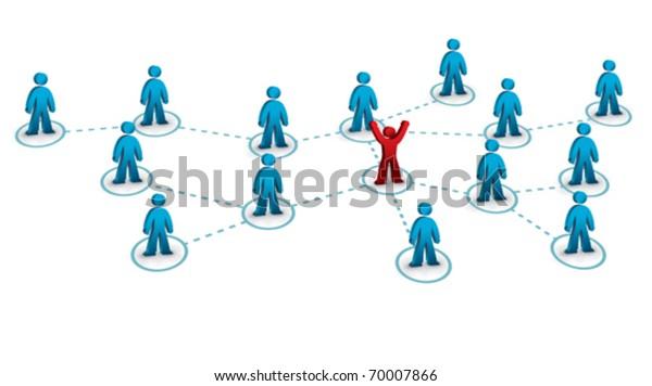 Geschäftsnetz mit einer mit dem Rest verbundenen Person