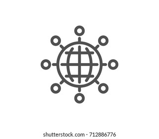 Business networking line icon. International work symbol. Global communication sign. Quality design element. Editable stroke. Vector