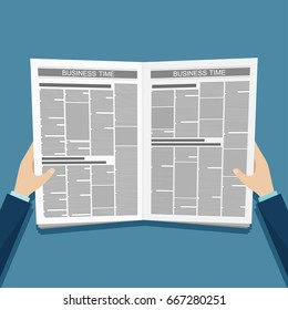 Business news newspaper in hands. Vector illustration.