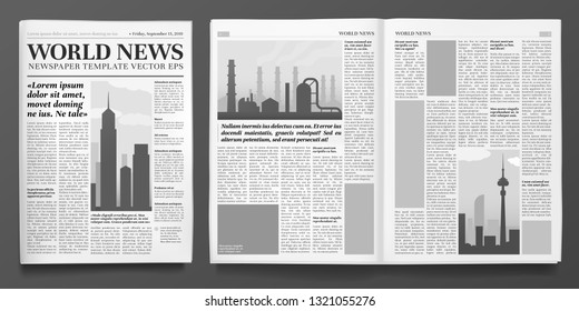Business newspaper template. Financial news headline, newspapers pages and finance journal. Newsprint press, daily brochure or business magazine. Isolated vector illustration layout set