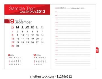 Business notebook with calendar for September 2013