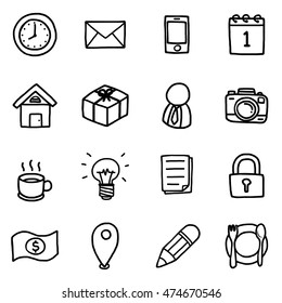 business objects or icons set/ cartoon vector and illustration, hand drawn style, isolated on white background.