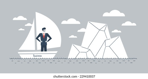 Business obstacle, overcome difficulties, problem solving, business prediction, vector illustration
