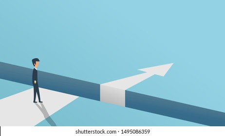 Business obstacle vector challenge issue solution arrow. Man concept success illustration overcome achievement cartoon. Hurdle career over barrier risk. Problem work metaphor job abyss