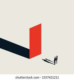 Business obstacle vector concept with businessman and woman looking at wall. Symbol of finding solutions. Challenge and overcoming symbol. Eps10 illustration.