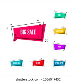 Business offers banner. Color retail lables. Colorful bubble with promotion text. Set of geometric promo template. Vector illustration isolated on white background