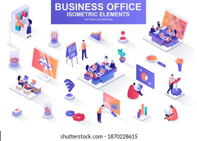 Business office bundle of isometric elements. Business analytics, project presentation, company teamwork, managers working isolated icons. Isometric vector illustration kit with people characters.