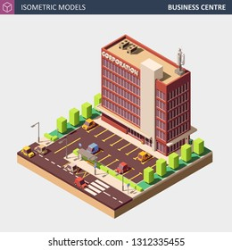 Business Office or Commercial Building with Parking Area, Personal Cars, Bus Stop and Shadows. Isolated on White - Perfect Isometric Illustration.